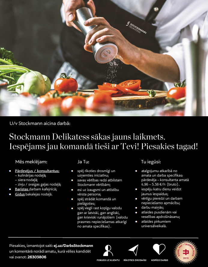 Darbs Stockmann pārtikas nodaļās