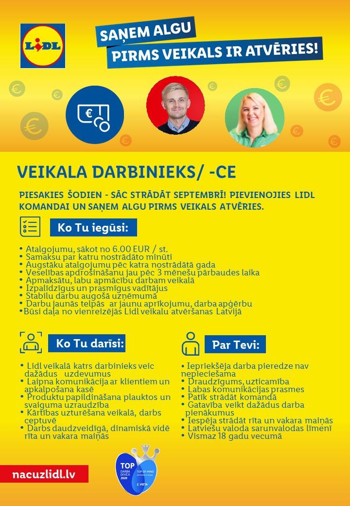 Veikala Darbinieks/-ce Rīgā (Ziepniekkalnā)