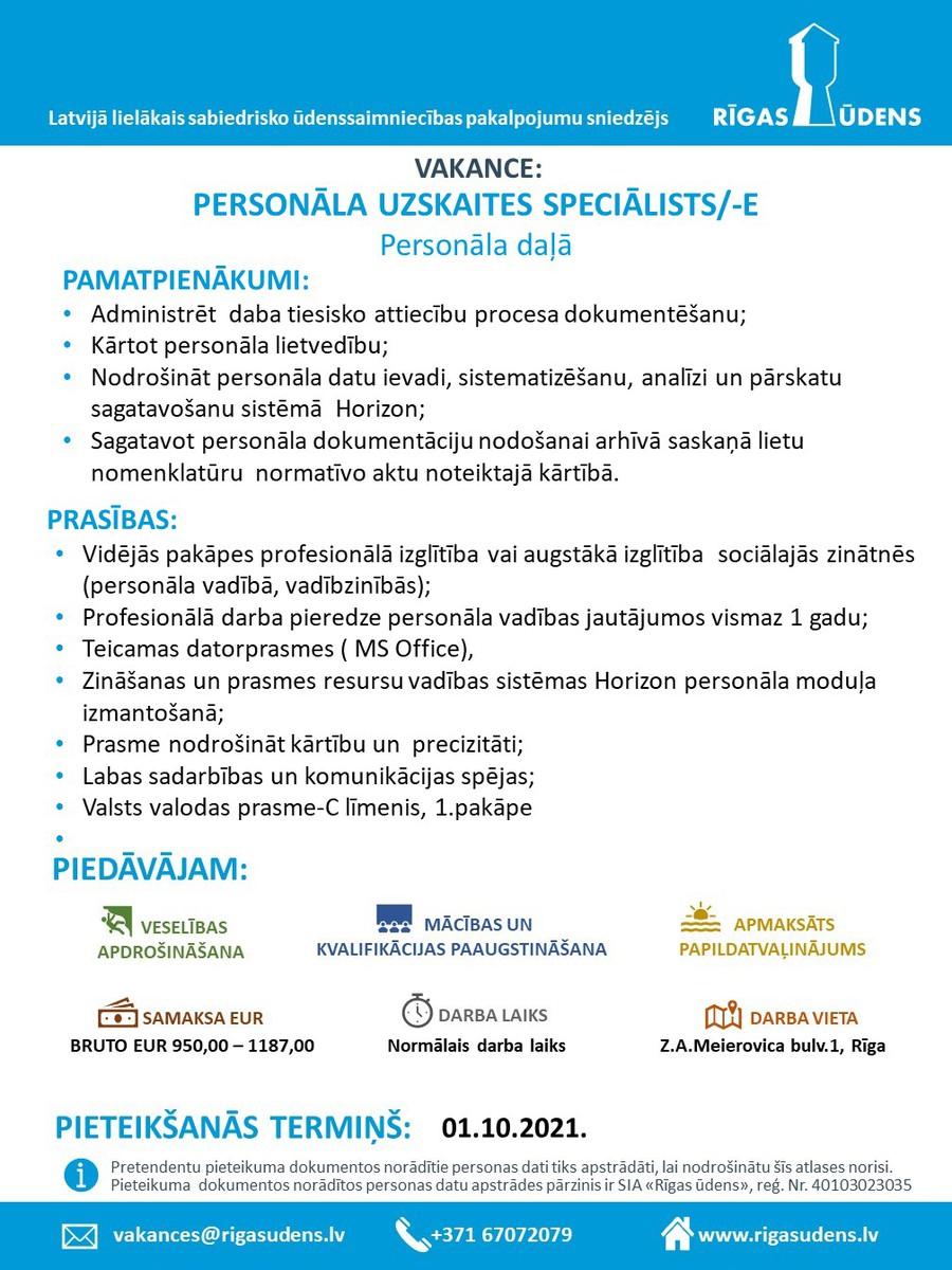 PERSONĀLA UZSKAITES SPECIĀLISTS/-E Personāla daļā