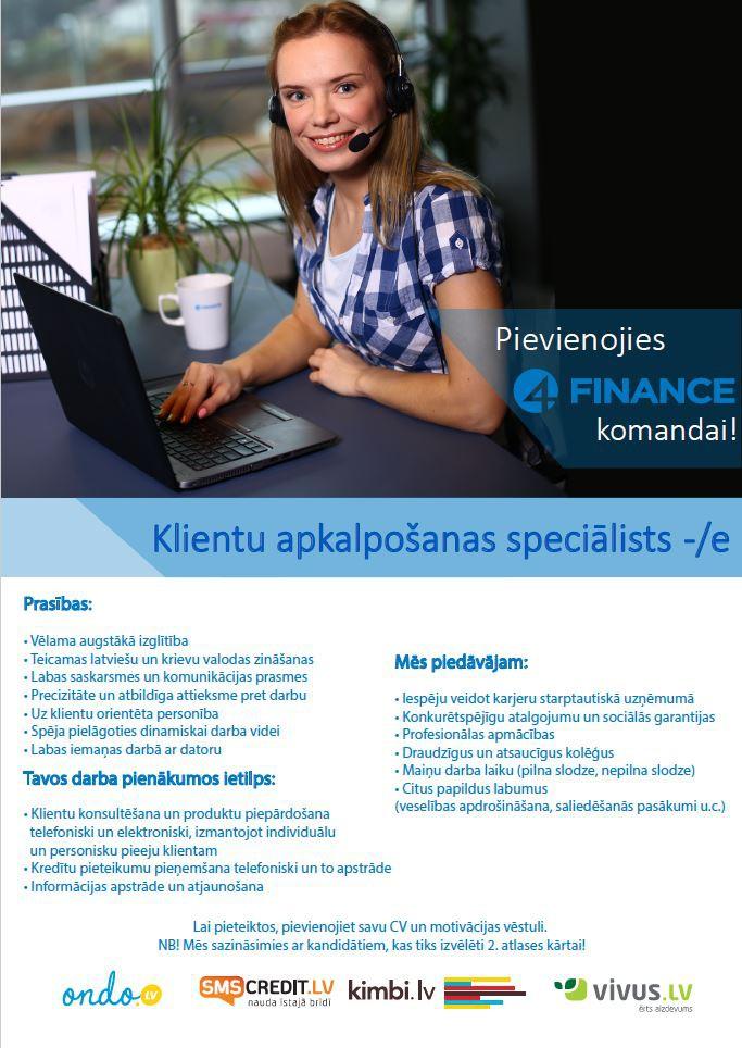 Klientu apkalpošanas speciālists/e