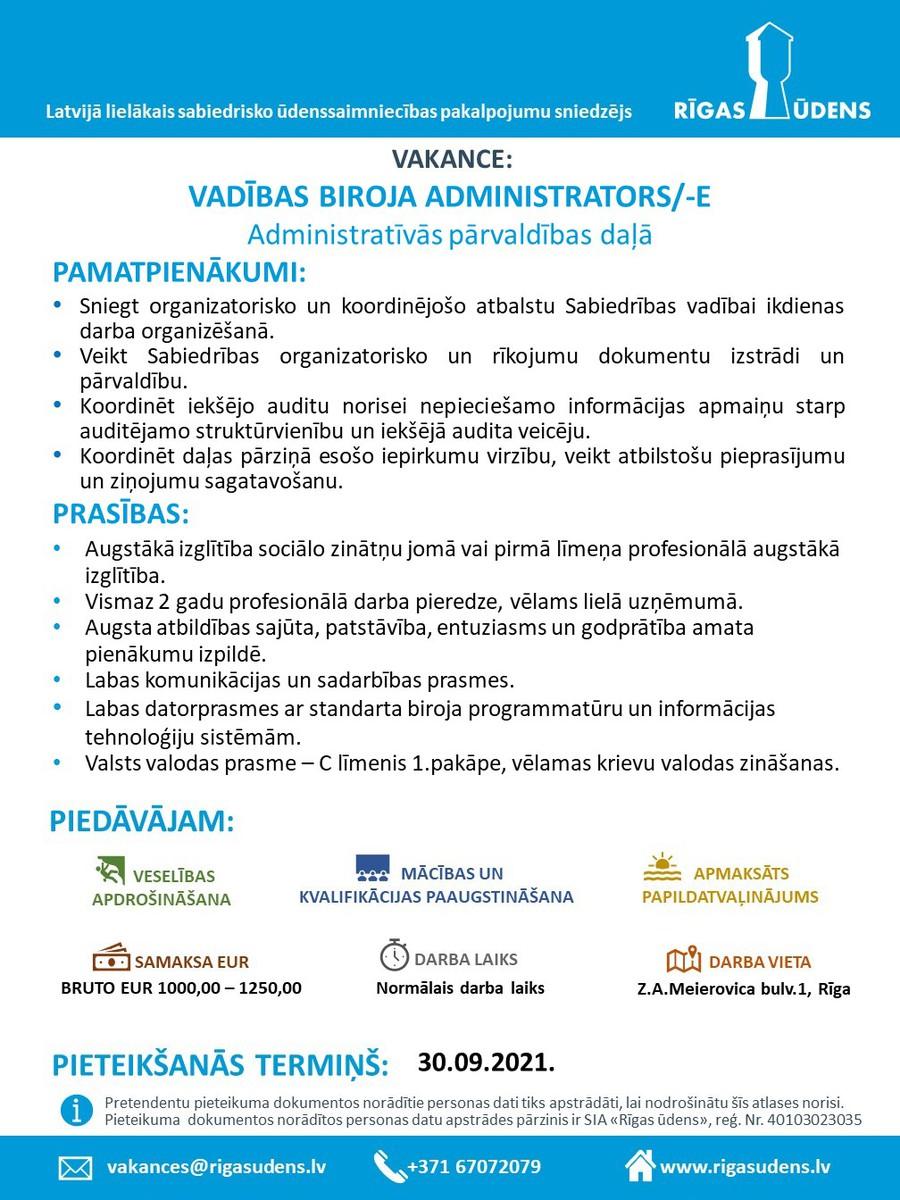 VADĪBAS BIROJA ADMINISTRATORS/-E Administratīvās pārvaldības daļā